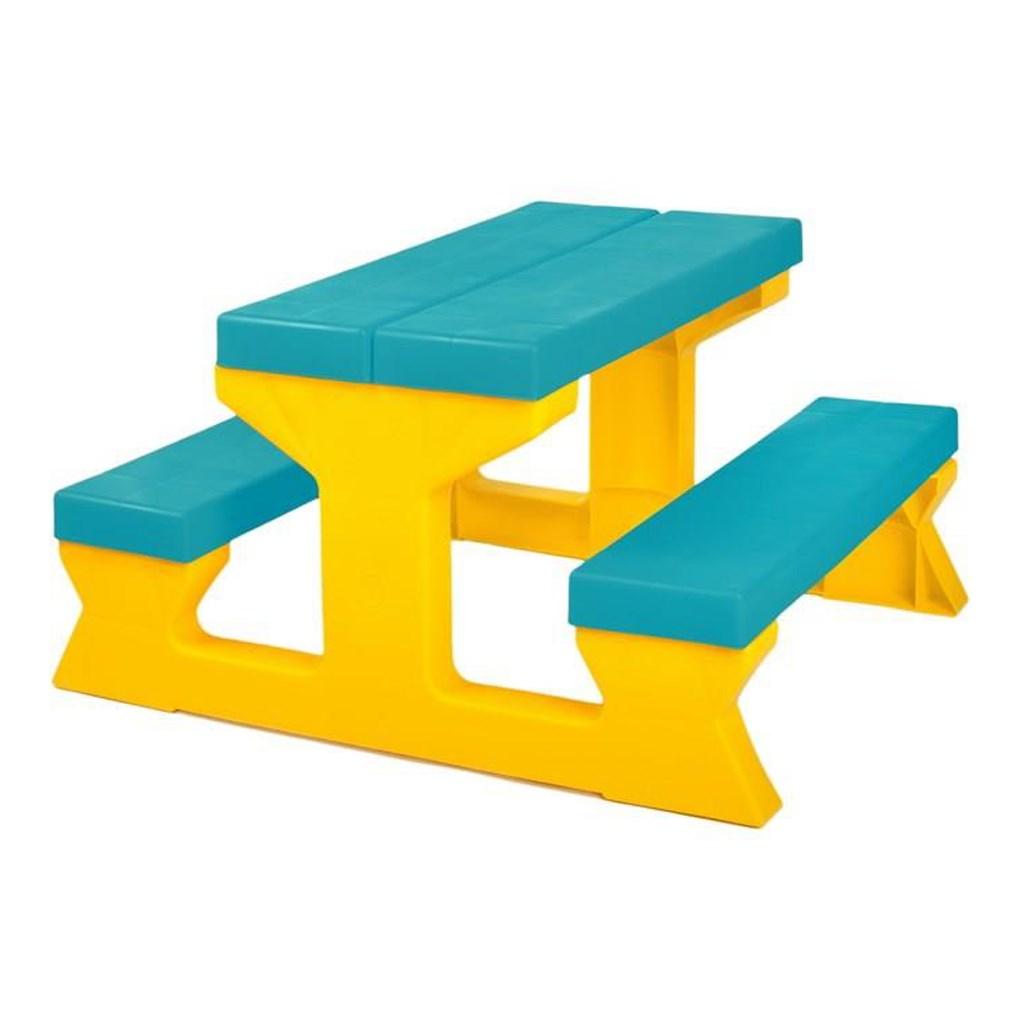 Dětský zahradní nábytek - Stůl a lavičky tyrkysovo-žlutý