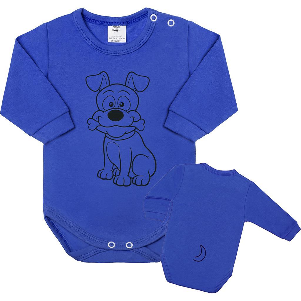 Kojenecké body s dlouhým rukávem New Baby Zvířátko Pejsek modré