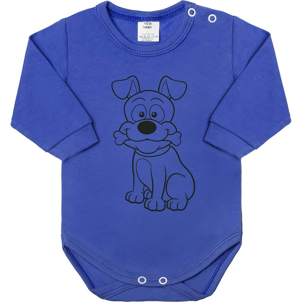 Kojenecké body s dlouhým rukávem New Baby Zvířátko Pejsek modré, vel. 80 (9-12m)