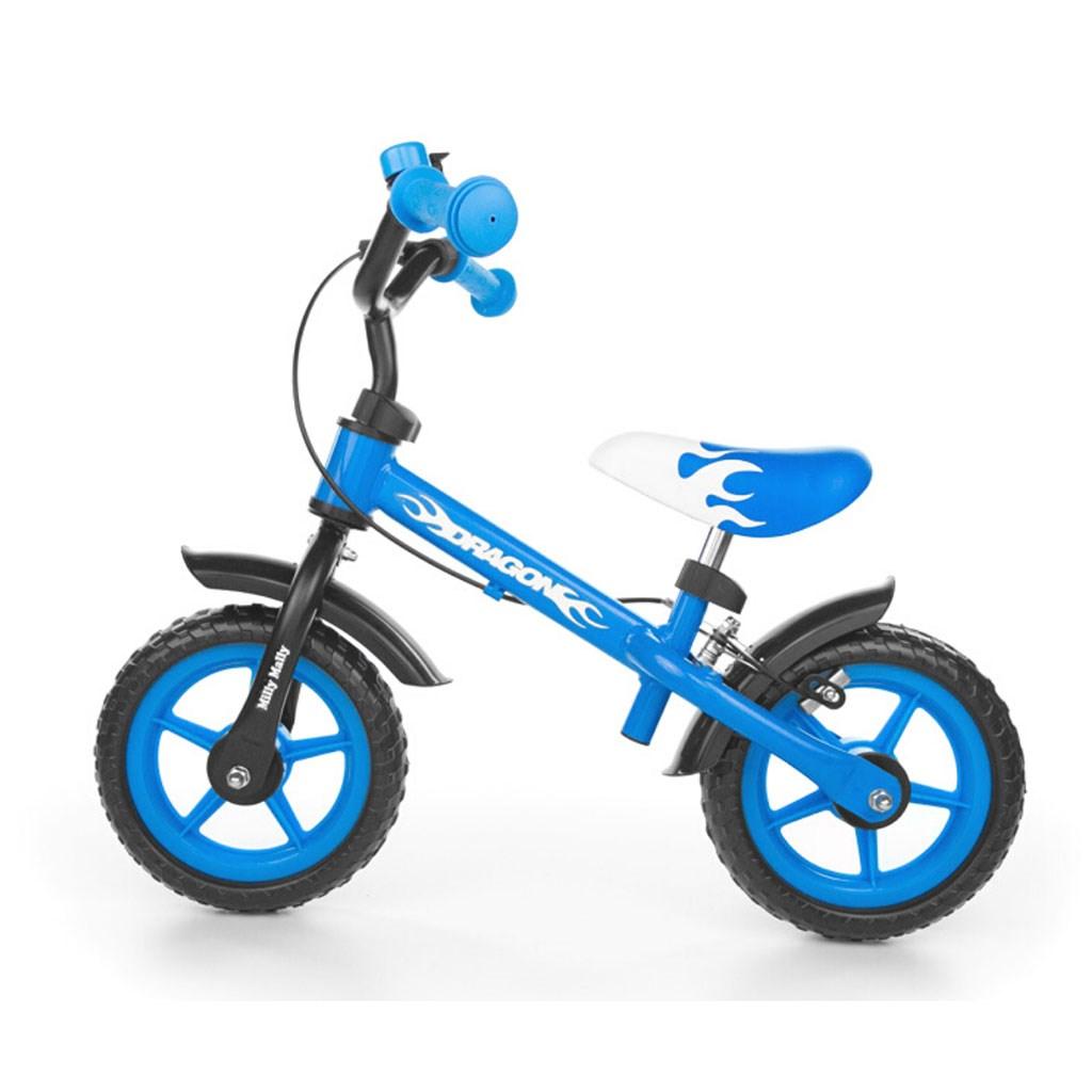 Dětské odrážedlo kolo Milly Mally Dragon s brzdou blue