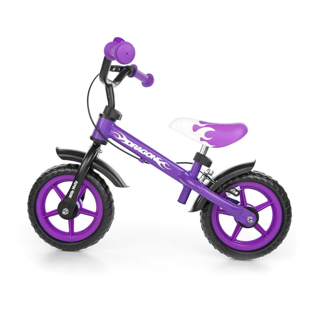 Dětské odrážedlo kolo Milly Mally Dragon s brzdou purple