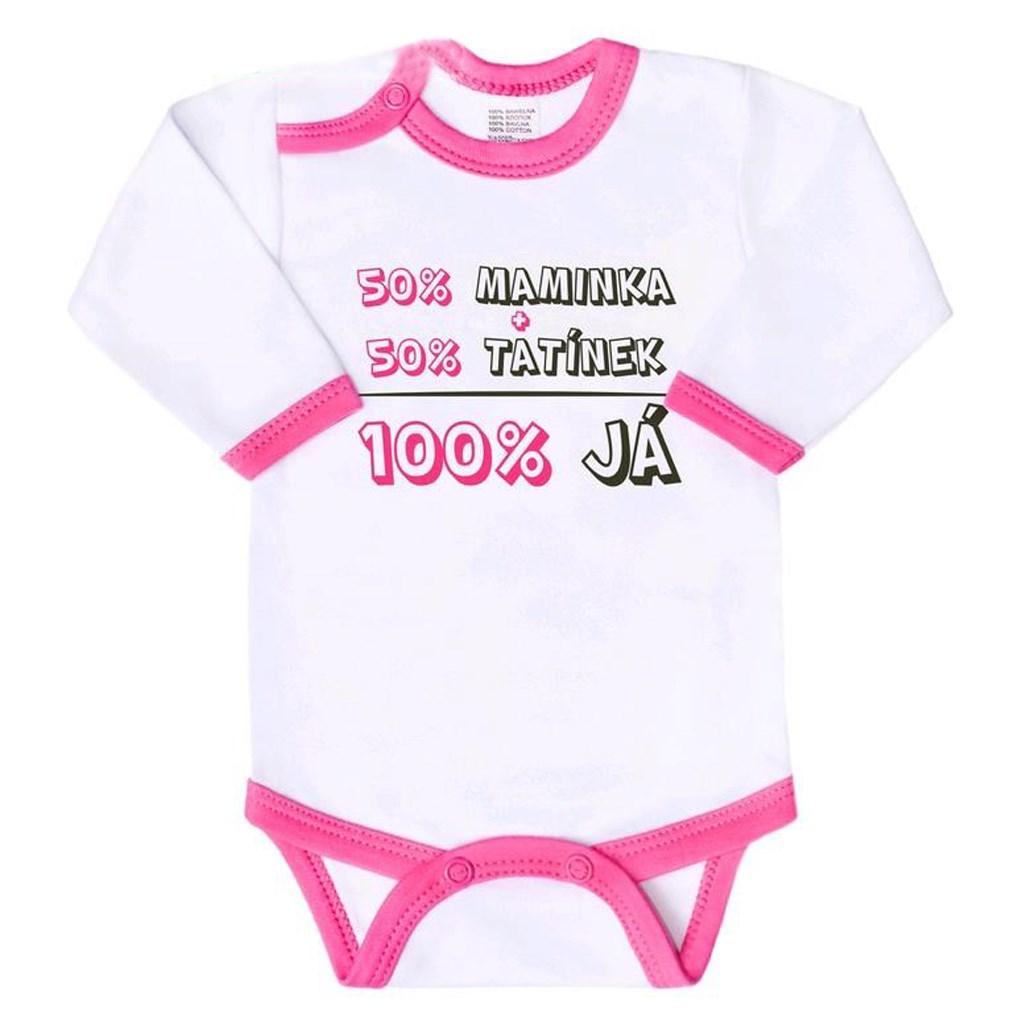 Body s potiskem New Baby 50% MAMINKA + 50% TATÍNEK - 100% JÁ růžové