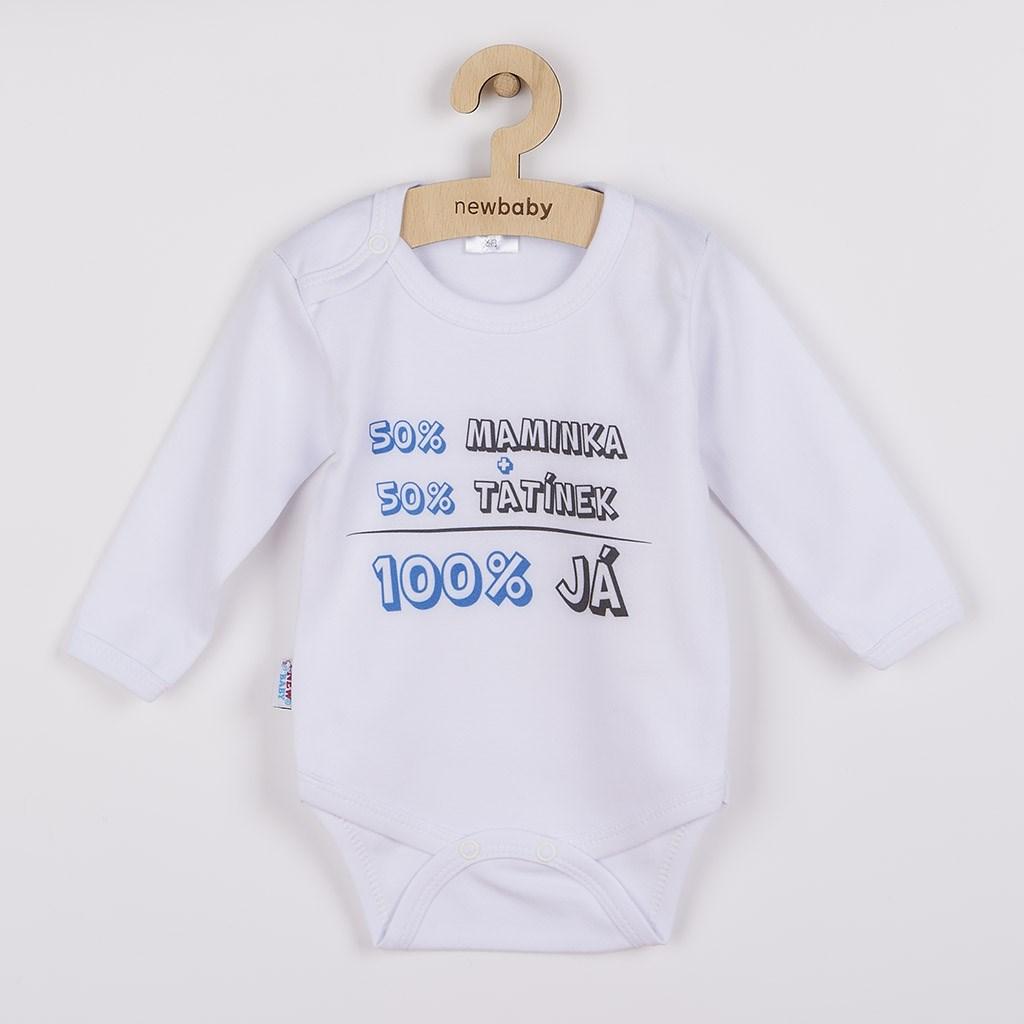 Body s potiskem New Baby 50% MAMINKA + 50% TATÍNEK - 100% JÁ modré, vel. 62 (3-6m)