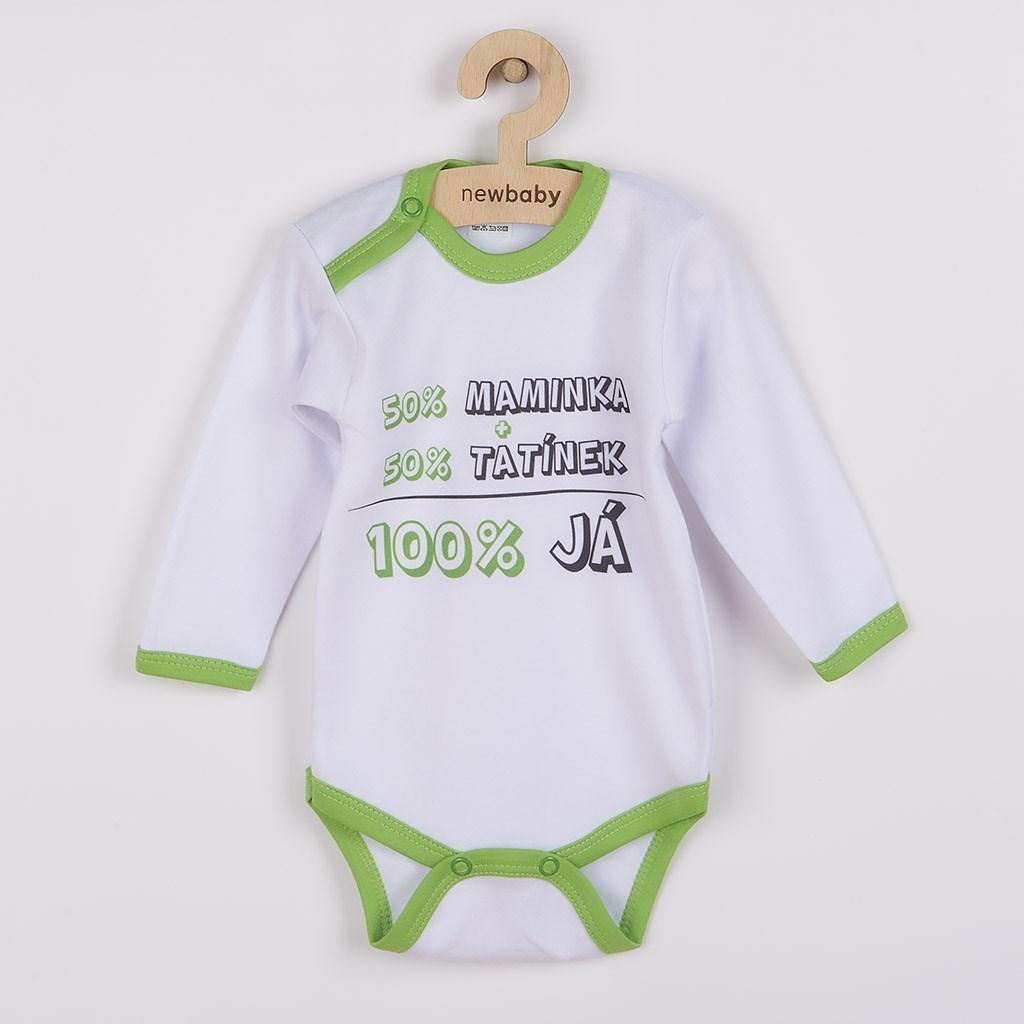 Body s potiskem New Baby 50% MAMINKA + 50% TATÍNEK - 100% JÁ zelené, vel. 80 (9-12m)