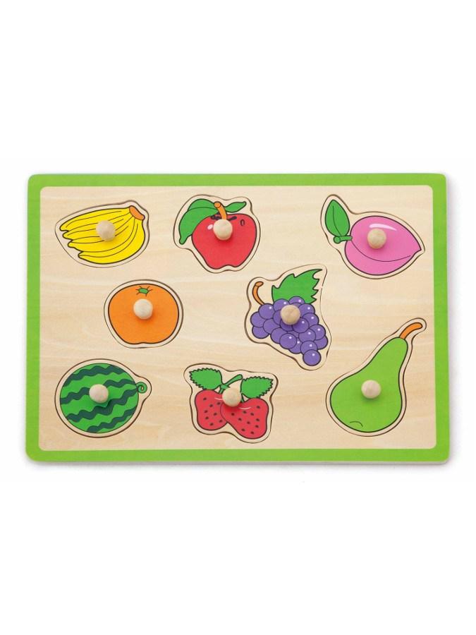 Dětské dřevěné puzzle s úchyty Viga Ovoce