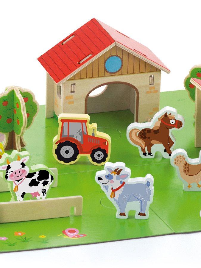 Dětské dřevěné 3D puzzle Viga Farma