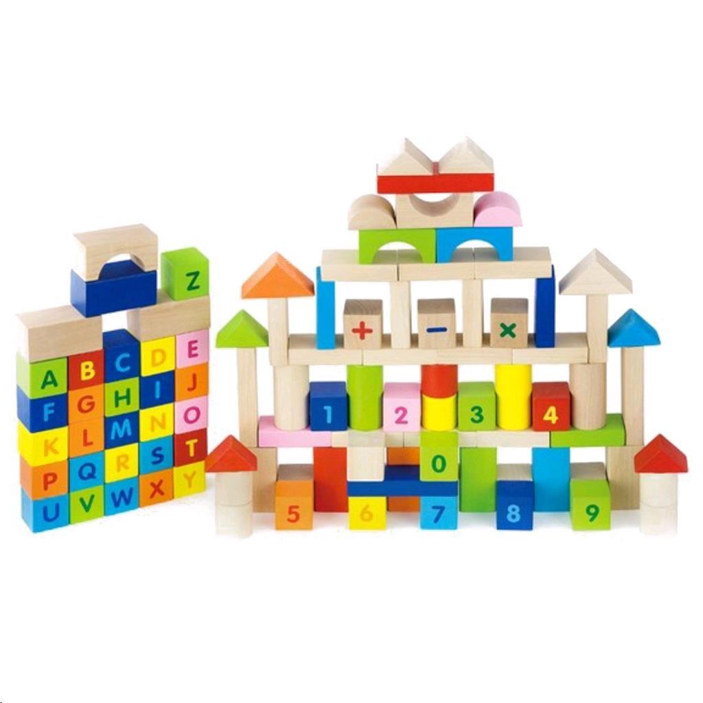 Dřevěné kostky pro děti Viga Písmenka a čísla 100 dílů