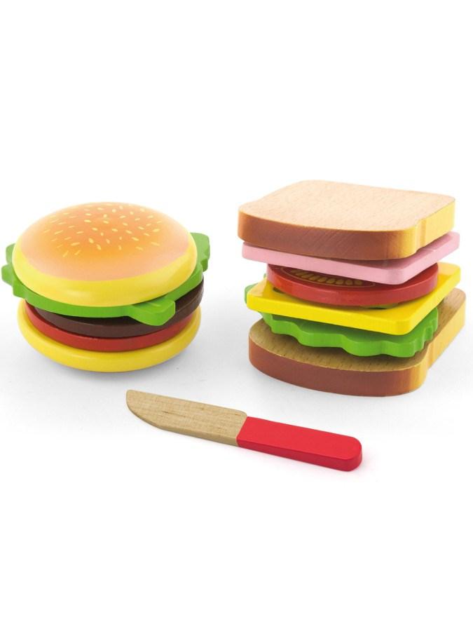 Dětská dřevěná hračka Viga Hamburger a Sendvič