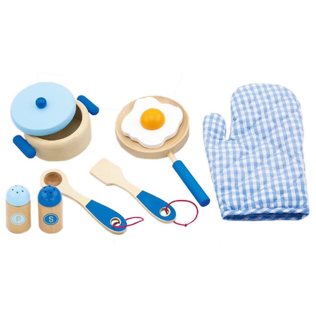 Dětské dřevěné nádobí Viga-snídaně modré