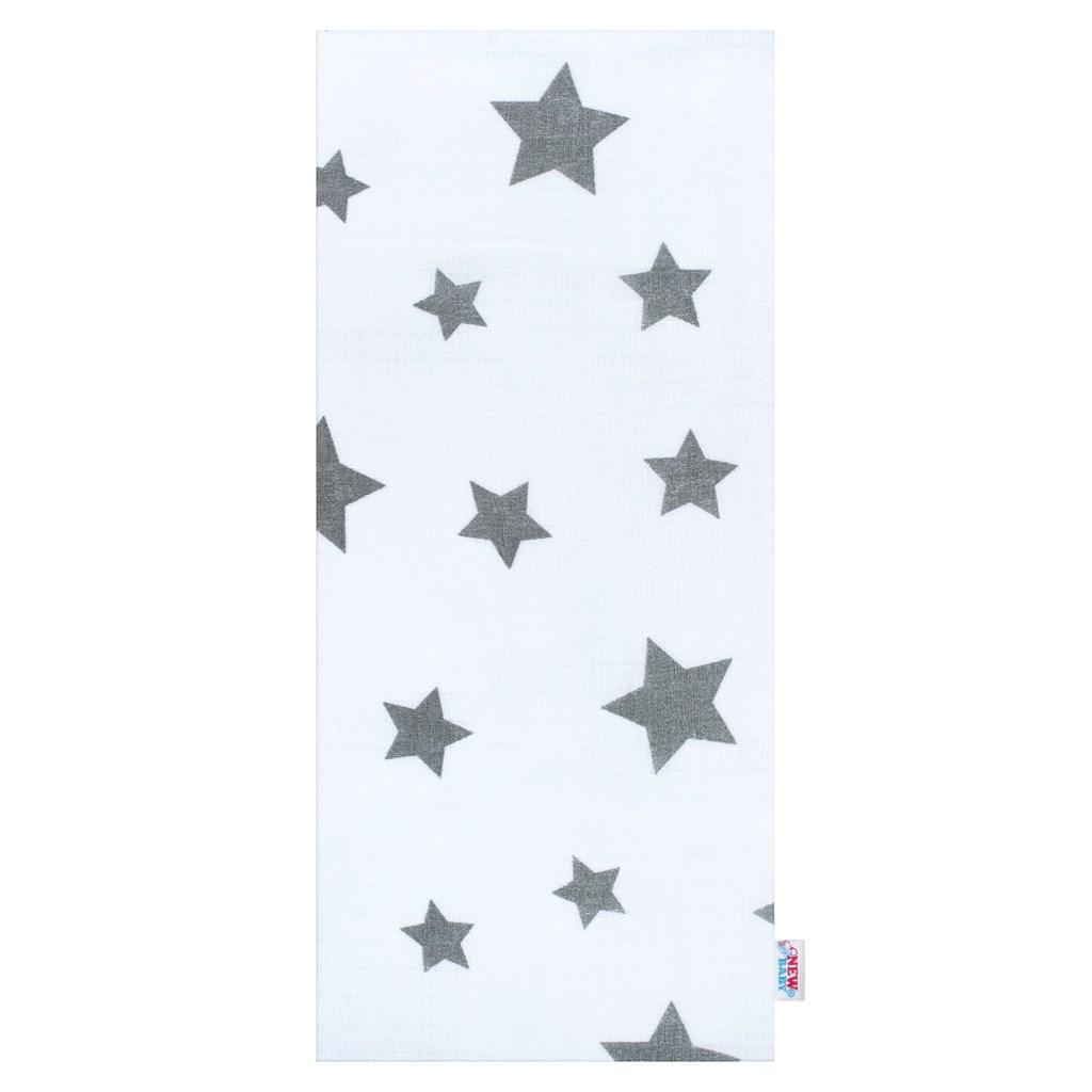 Bavlněná plena s potiskem New Baby bílá s šedými hvězdičkami