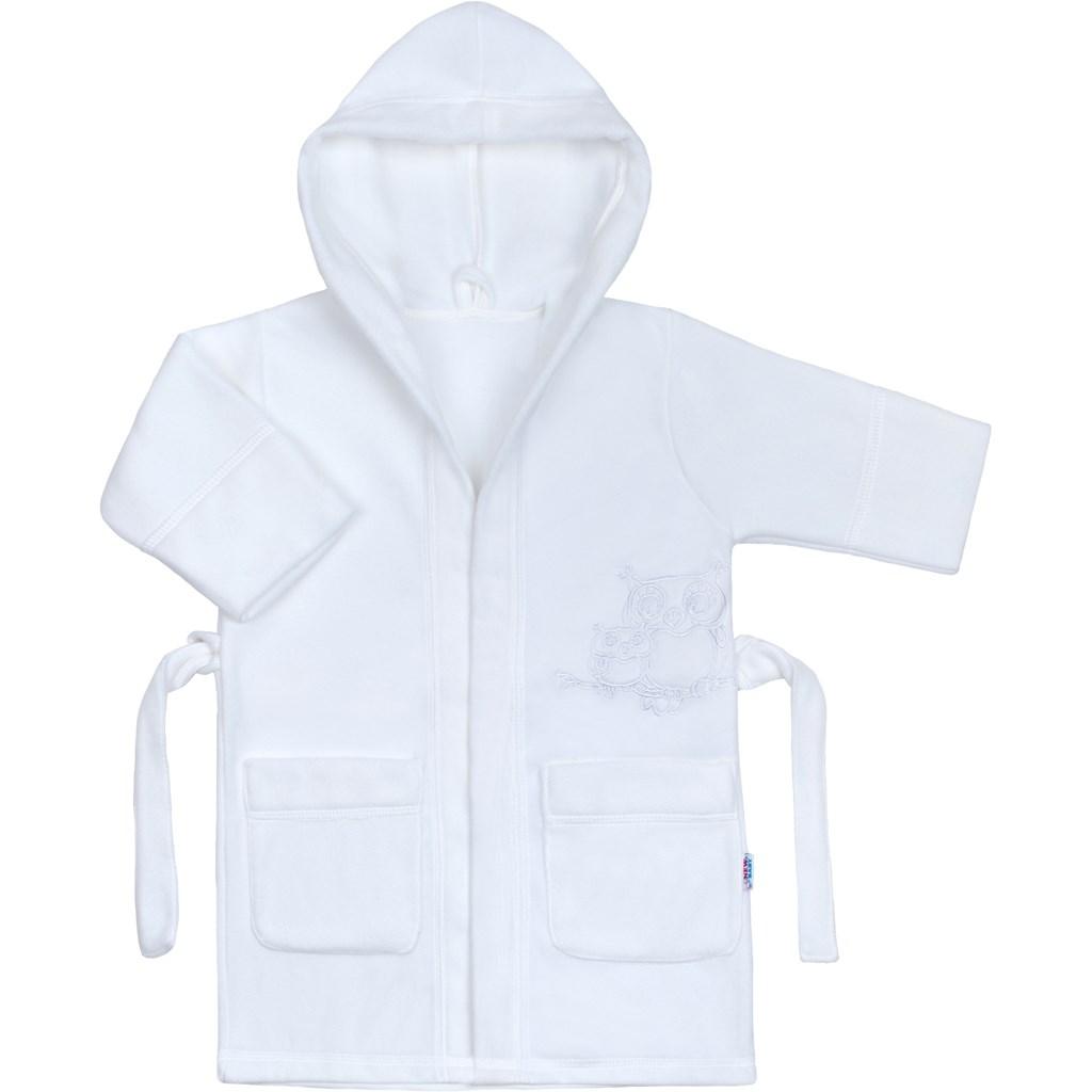 Dětský župan New Baby Sovičky bílý-98 (2-3r)