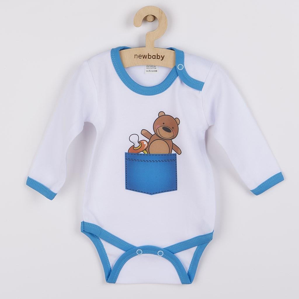 Body s potiskem New Baby medvídek v kapse vel. 62 (3-6m)