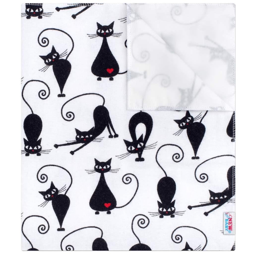 Nepromokavá flanelová podložka New Baby bílá s černou kočkou