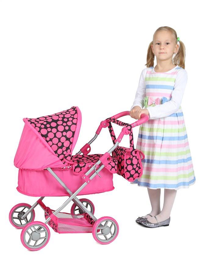 Hluboký kočárek pro panenky PlayTo Viola růžovo-černý