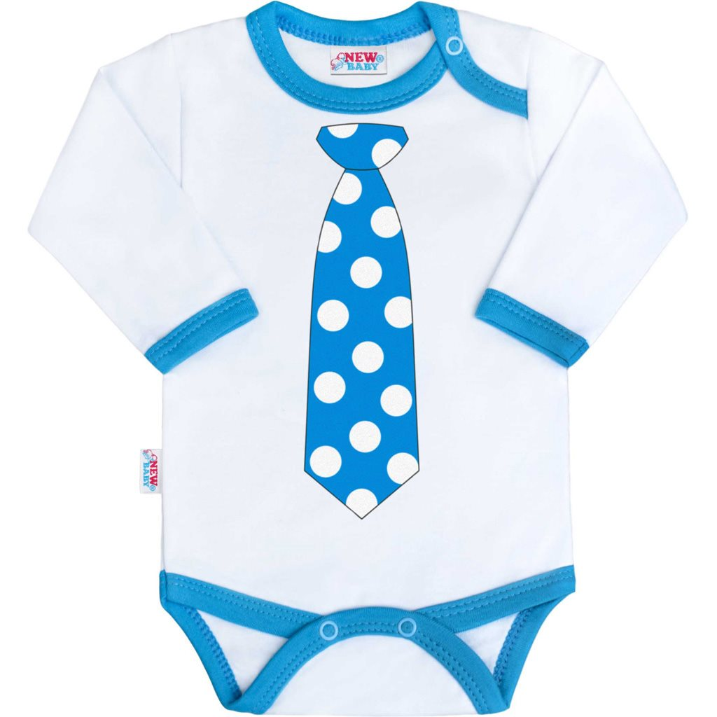 Body s potiskem New Baby s tyrkysovou kravatou vel. 56 (0-3m)