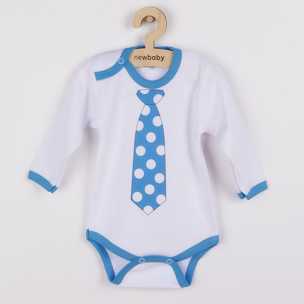 Body s potiskem New Baby s tyrkysovou kravatou vel. 62 (3-6m)