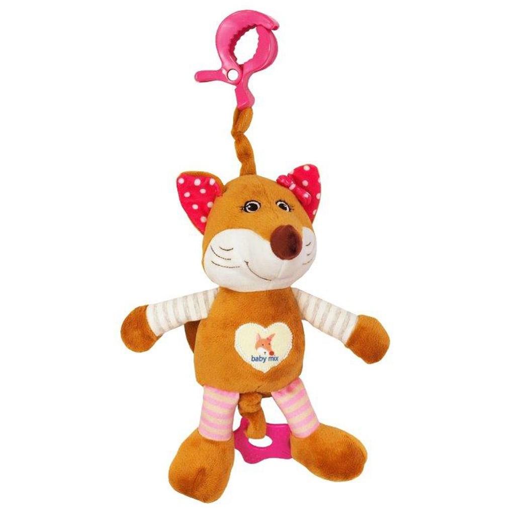 Dětská plyšová hračka s hracím strojkem Baby Mix Liška růžová