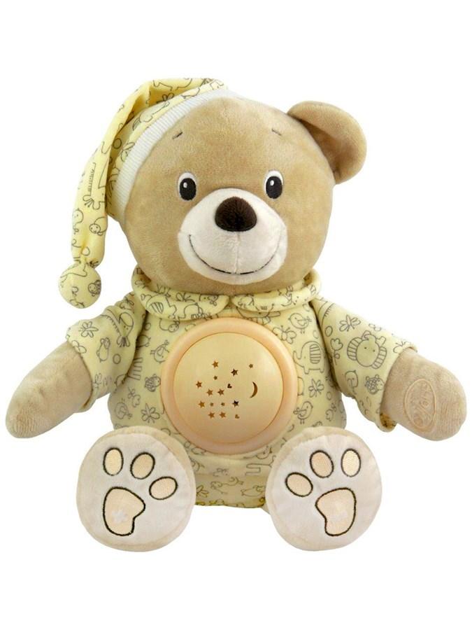 Plyšový usínáček medvídek v čepičce s projektorem Baby Mix krémový