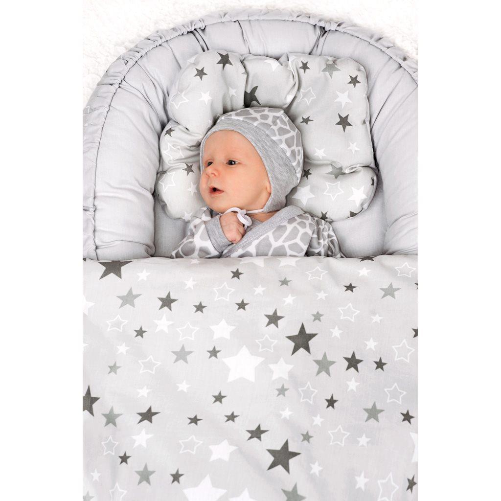 Luxusní hnízdečko s peřinkami pro miminko New Baby hvězdy šedé