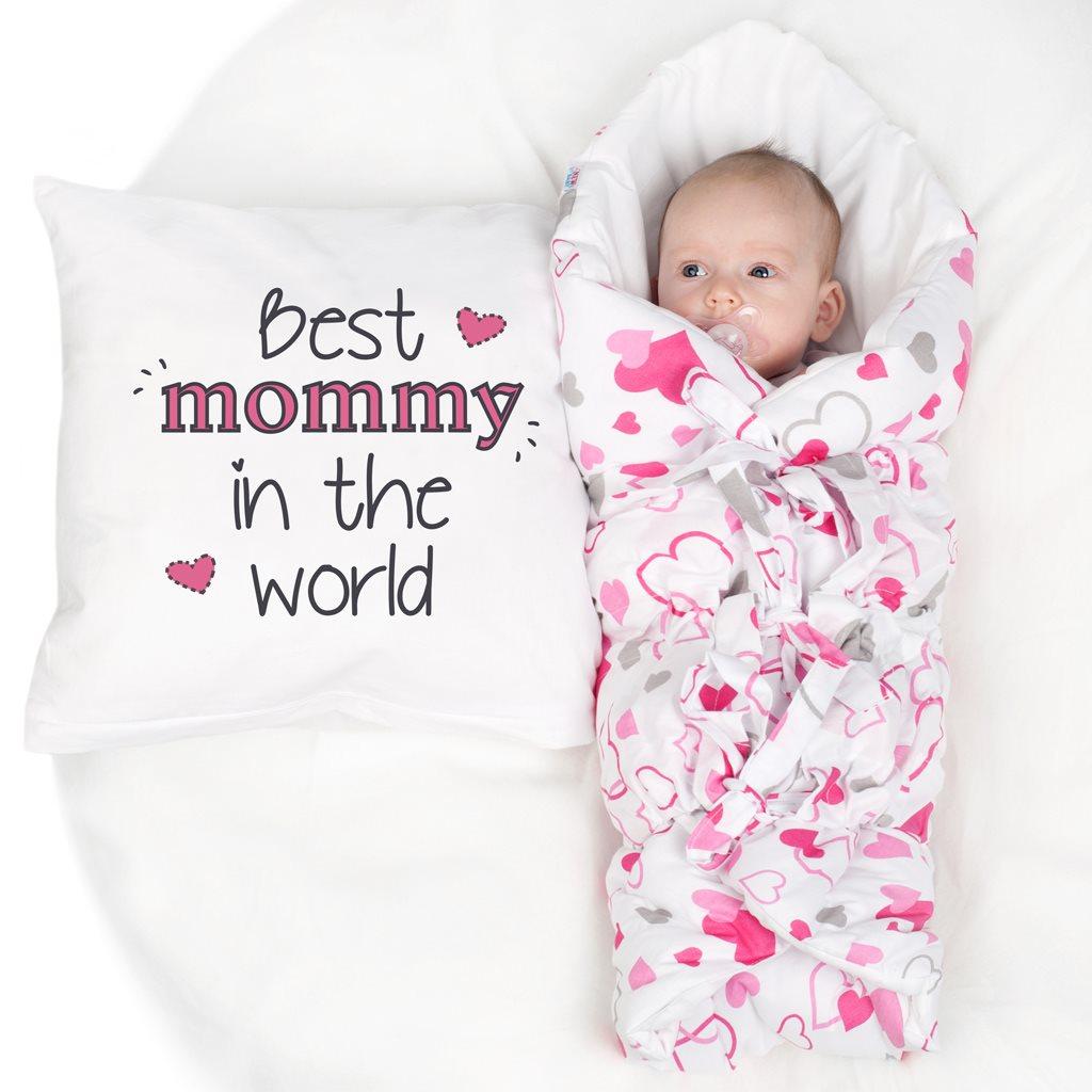 Klasická šněrovací zavinovačka New Baby růžová srdíčka