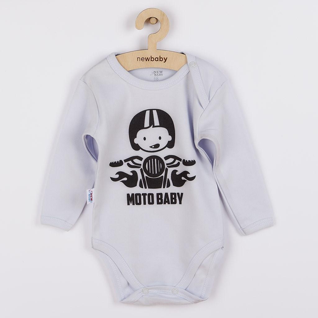Body s potiskem New Baby Moto baby šedé, Velikost: 80 (9-12m)