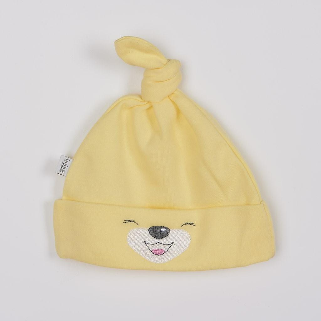 Bavlněná kojenecká čepička Bobas Fashion Lucky žlutá vel. 56 (0-3m)