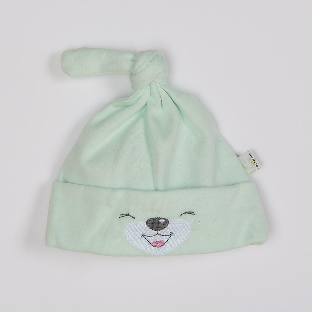 Bavlněná kojenecká čepička Bobas Fashion Lucky zelená vel. 56 (0-3m)