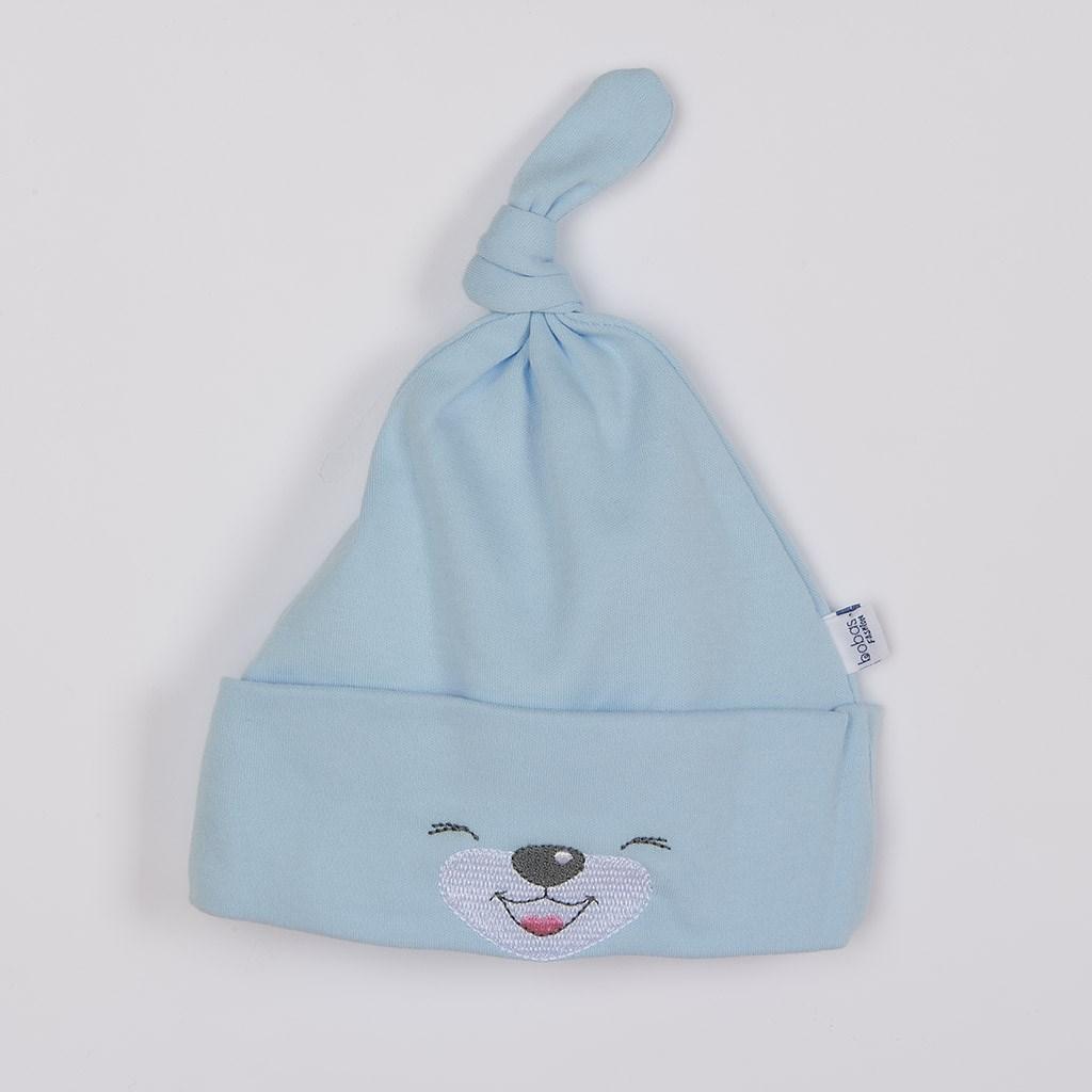 Bavlněná kojenecká čepička Bobas Fashion Lucky modrá vel. 56 (0-3m)
