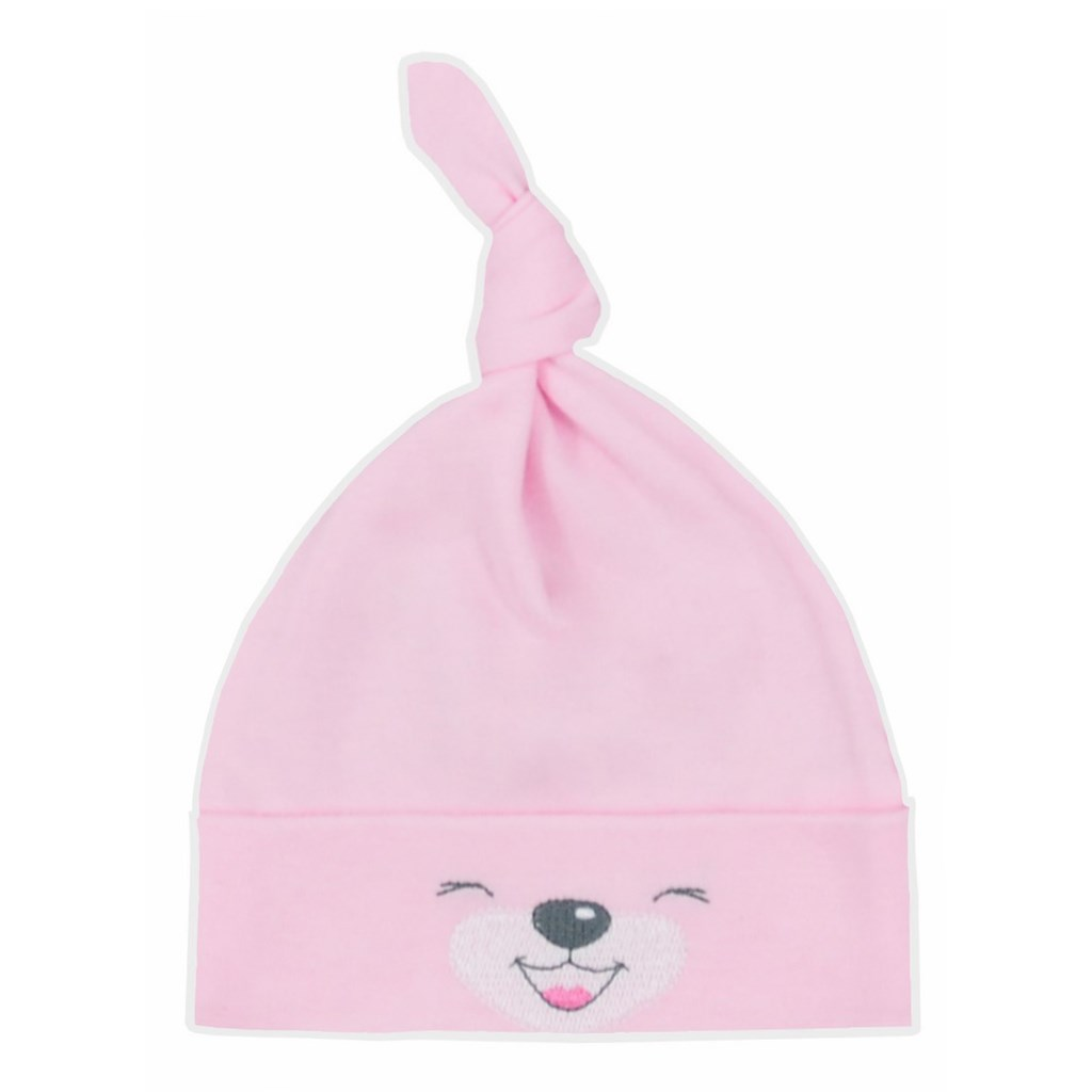Bavlněná kojenecká čepička Bobas Fashion Lucky růžová vel. 68 (4-6m)