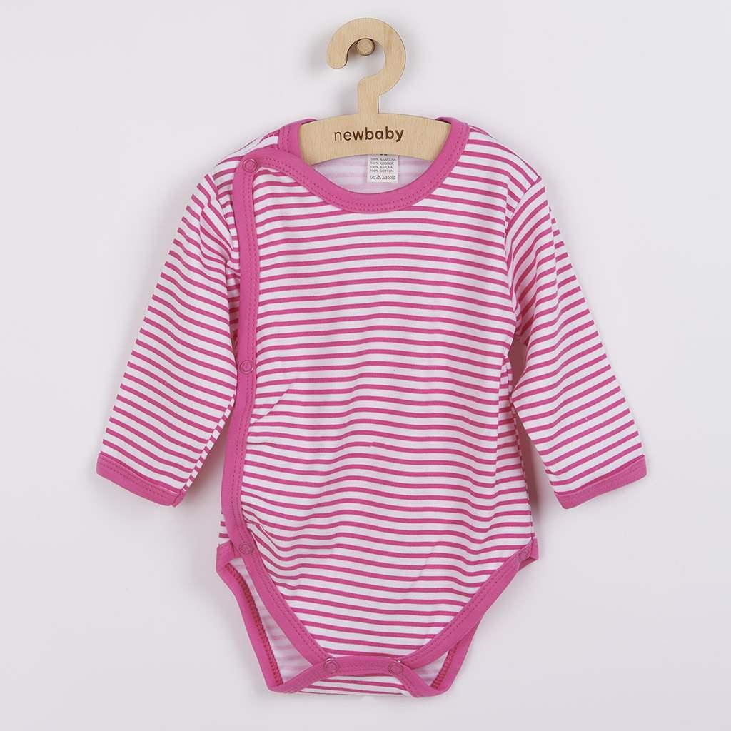 Kojenecké celorozepínací body New Baby Classic II s růžovými pruhy