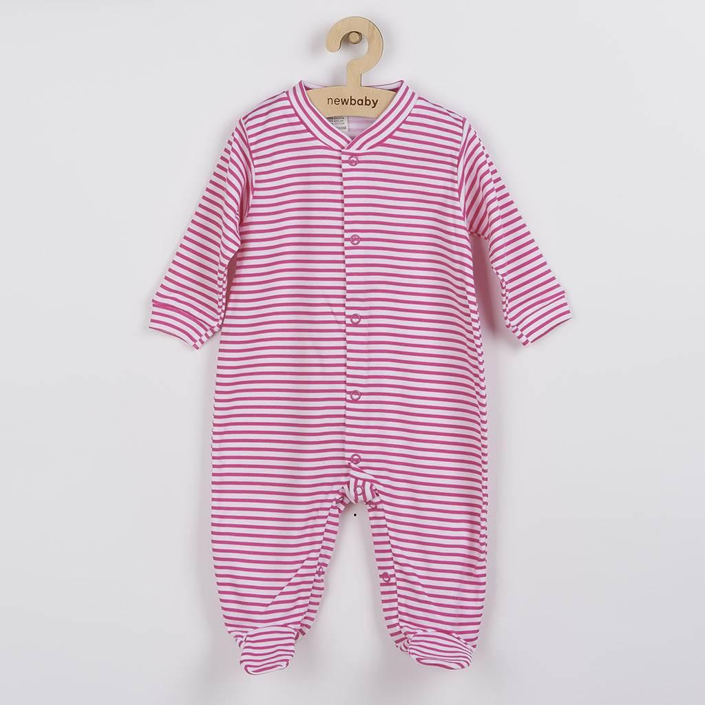 Kojenecký overal New Baby Classic II s růžovými pruhy vel. 56 (0-3m)