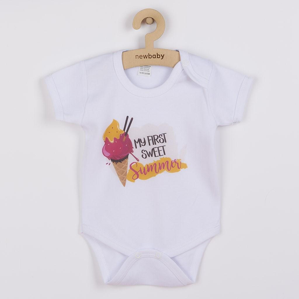 Body s potiskem New Baby MY FIRST SWEET Summer růžové