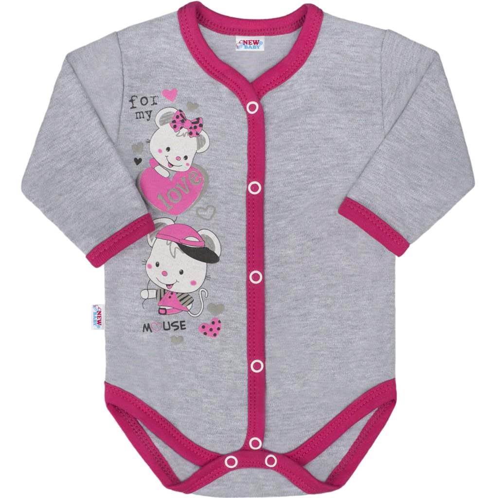 Dětské celorozepínací body New Baby Love Mouse