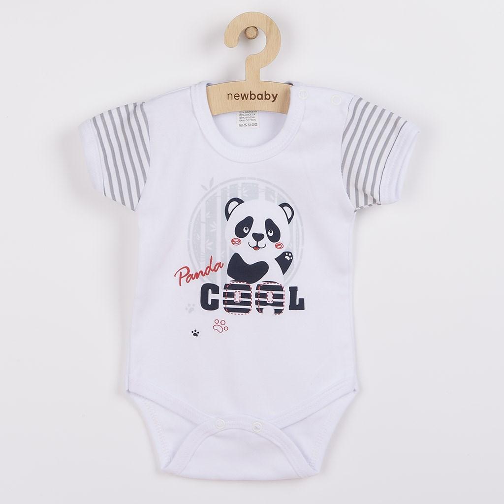 Kojenecké body s krátkým rukávem New Baby Panda, Velikost: 62 (3-6m)
