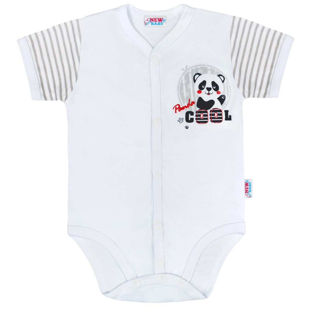 Kojenecké celorozepínací body s krátkým rukávem New Baby Panda