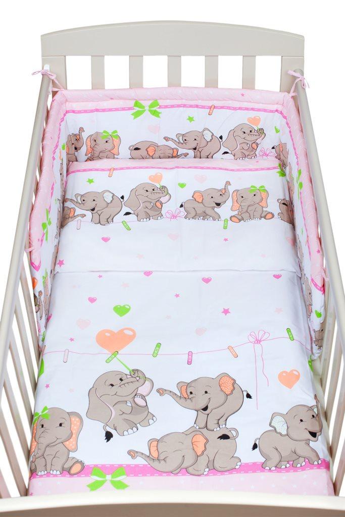 3-dílné ložní povlečení New Baby 100/135 cm růžové se sloníky