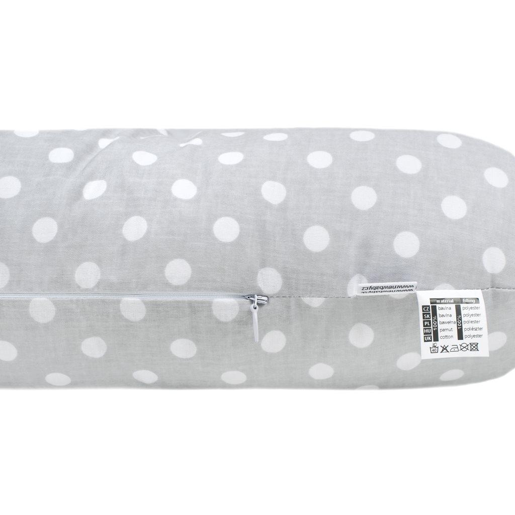 Univerzální kojící polštář ve tvaru C New Baby šedý s puntíky