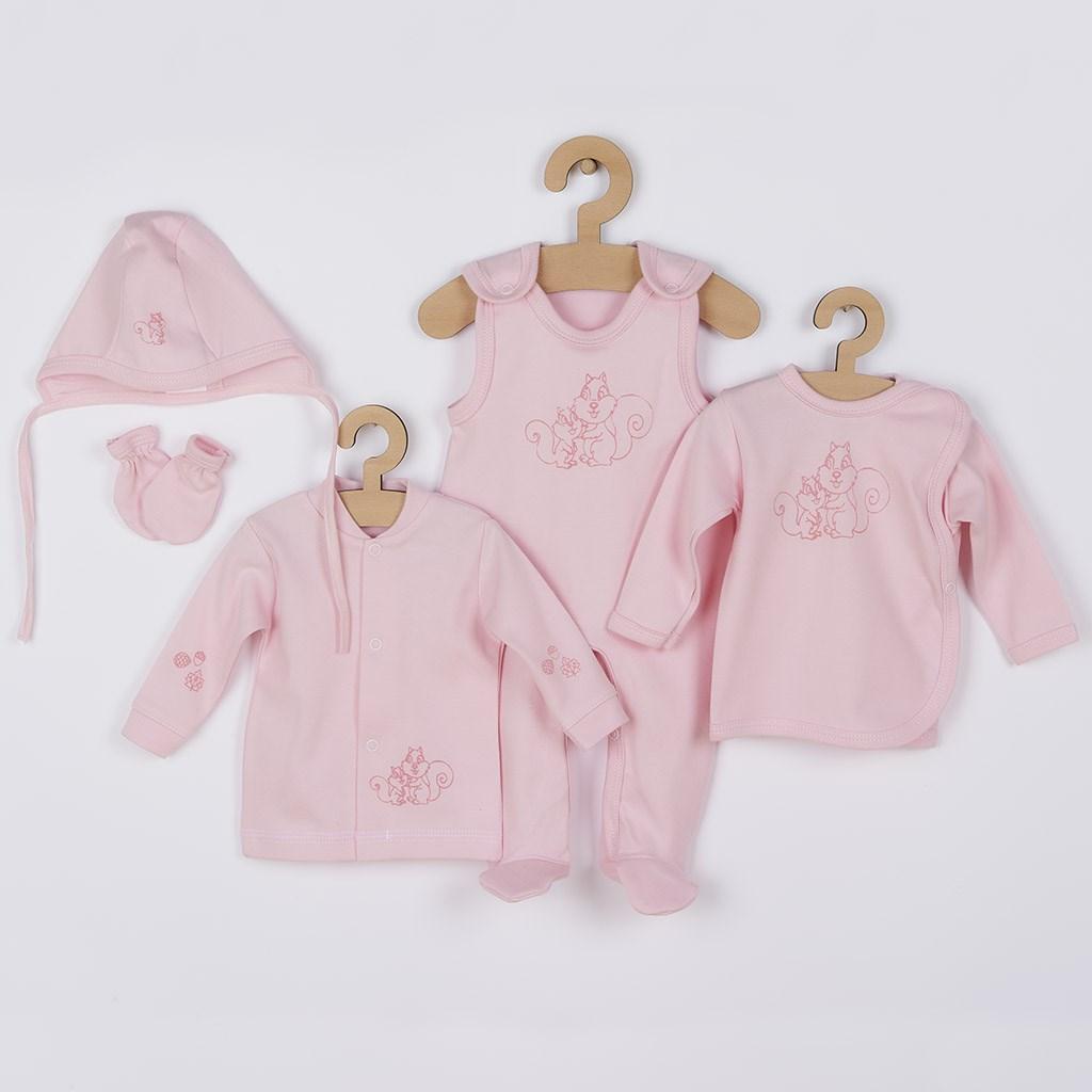 5-dílná soupravička New Baby Veverky v krabičce růžová