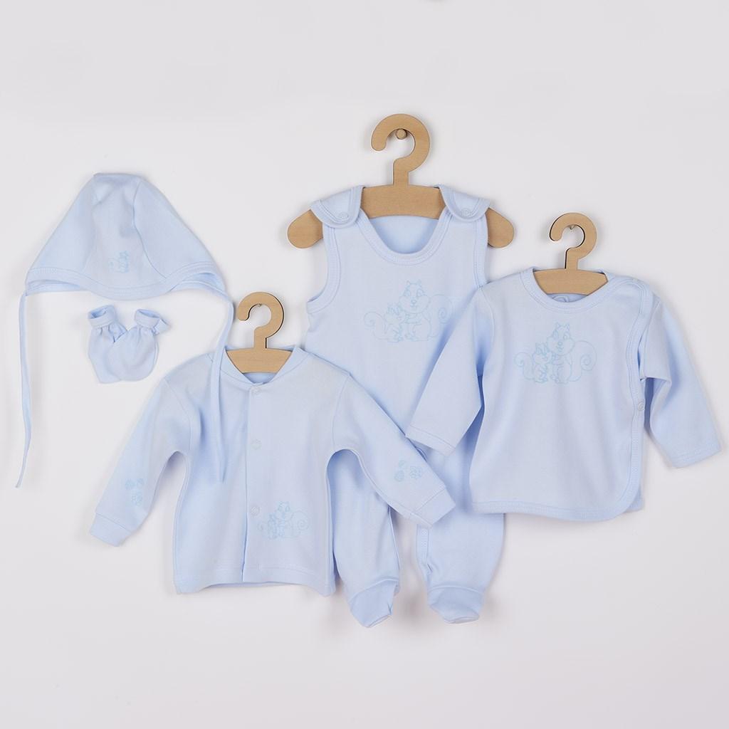 5-dílná soupravička New Baby Veverky v krabičce modrá-56 (0-3m)