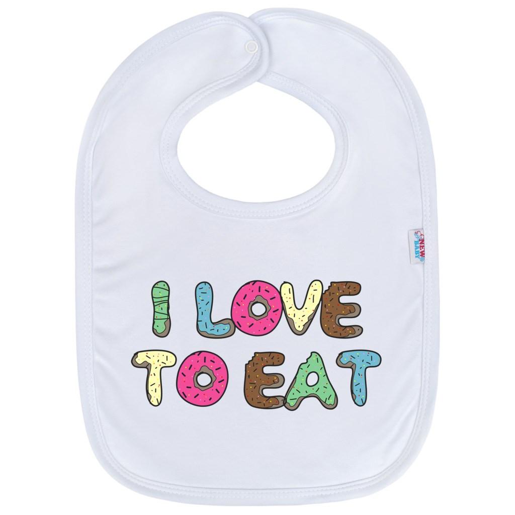 Kojenecký bavlněný bryndák New Baby I LOVE TO EAT
