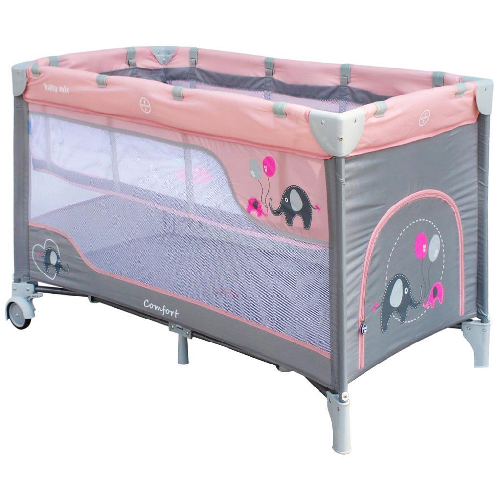 Dětská cestovní postýlka Baby Mix Sloni Pink