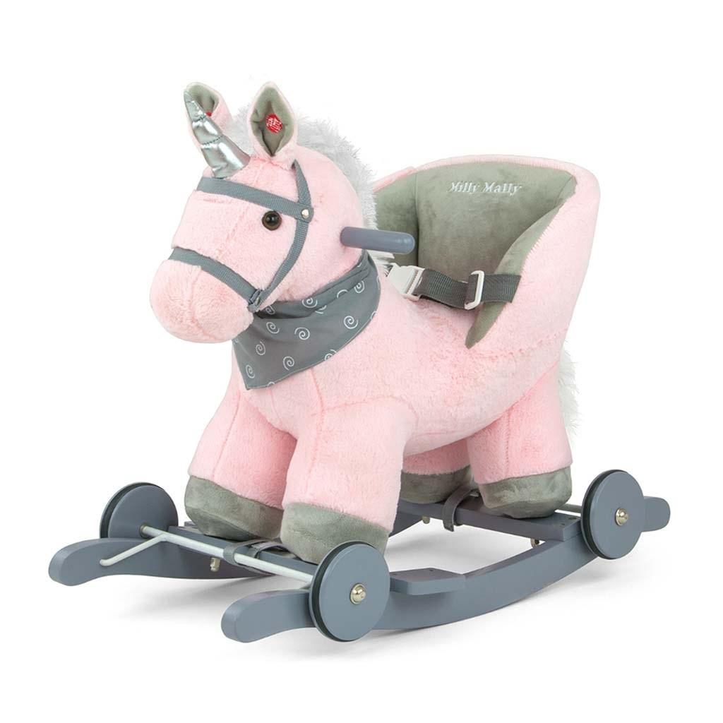 Houpací koník s melodií a kolečky Milly Mally Polly růžový