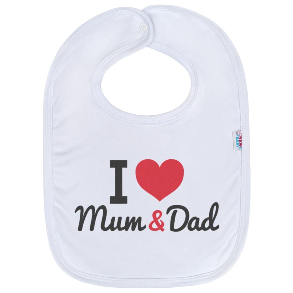Kojenecký bavlněný bryndák New Baby I love Mum and Dad