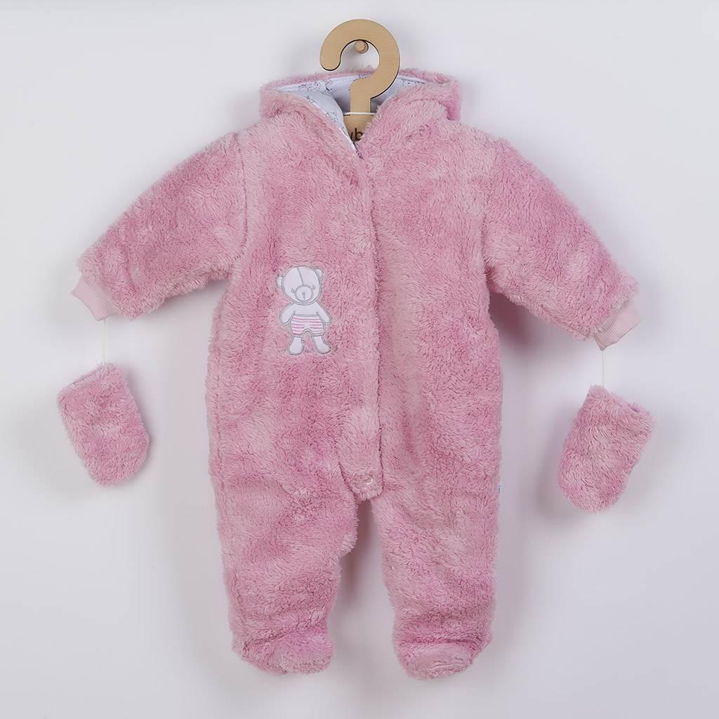 Zimní kombinézka New Baby Nice Bear růžová vel. 56 (0-3m)