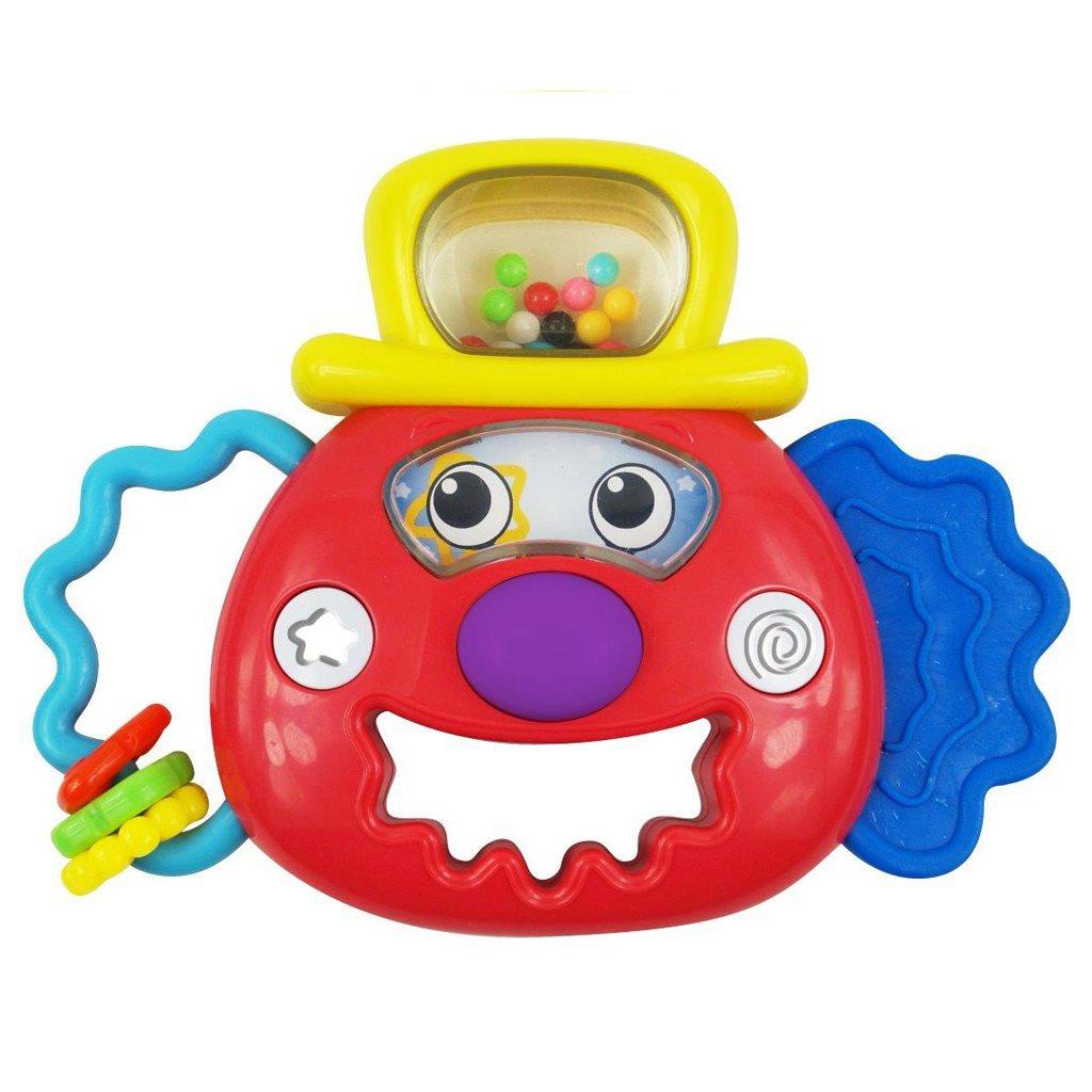 Chrastítko Baby Mix se světýlkem klaun červený