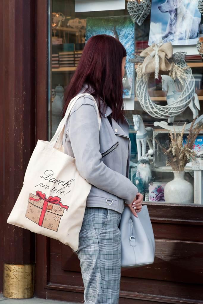 Bavlněná nákupní taška přírodní s potiskem New Baby Dárek pro tebe!