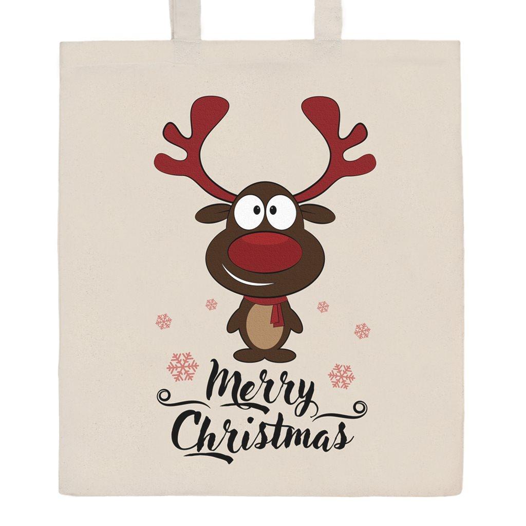 Bavlněná nákupní taška přírodní s potiskem New Baby Merry Christmas