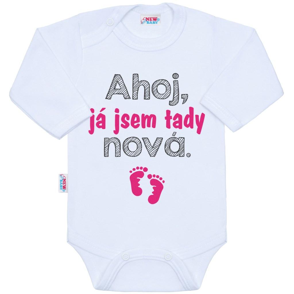 Body s potiskem New Baby Ahoj, já jsem tady nová. vel. 62 (3-6m)