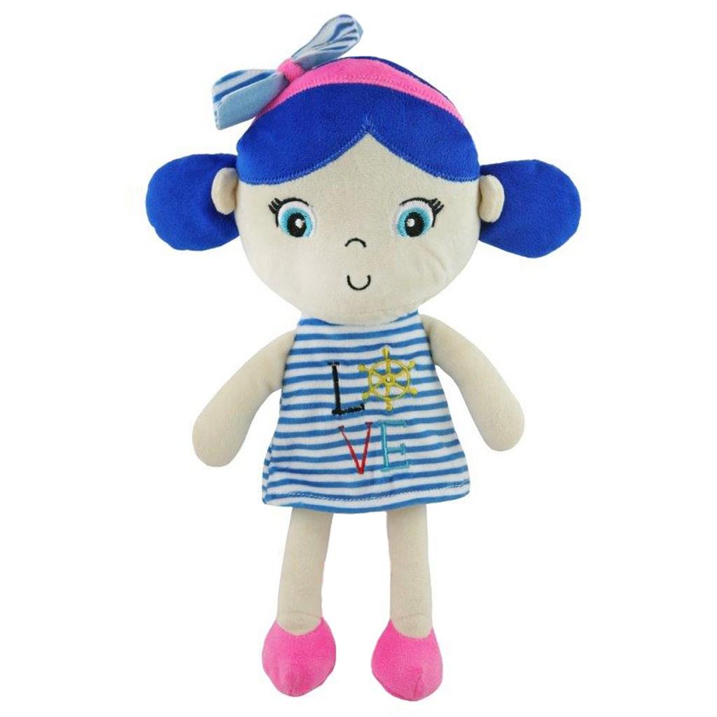 Edukační plyšová panenka Baby Mix námořník holka blue