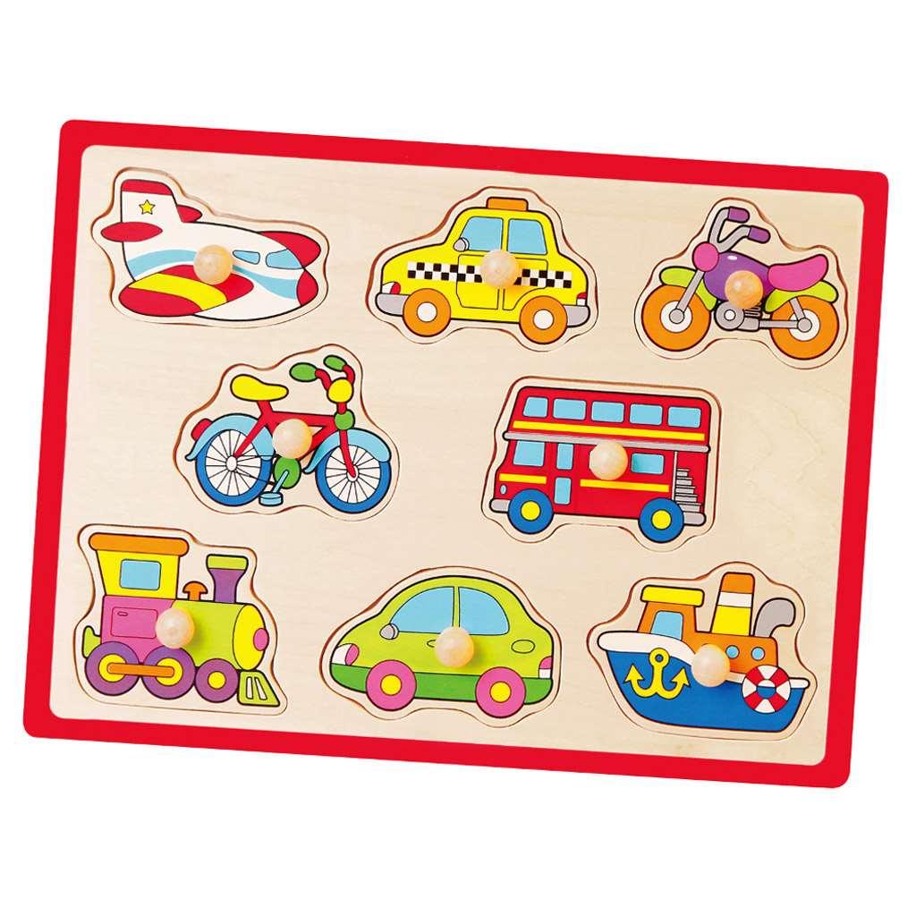 Dětské dřevěné puzzle s úchyty Viga Vozidla